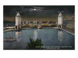 Kansas City, Missouri - Electric Park View of the Lake and Towers at Night Art by  Lantern Press