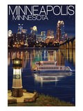 Minneapolis, Minnesota - Skyline at Night Prints by Lantern Press