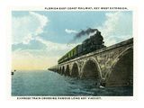 Key West, Florida - Long Key Viaduct Train Crossing Scene Poster von  Lantern Press
