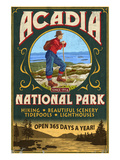 Acadia National Park - Vintage Hiker Sign Kunstdrucke von  Lantern Press