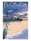 Florida - Lighthouse and Blue Heron Sunset Poster af  Lantern Press