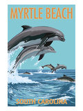 Myrtle Beach, South Carolina - Dolphins Swimming Prints by  Lantern Press