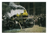 New York, New York - Observing a Steam Powered Fire Engine Print by  Lantern Press