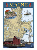 Maine Scenes - Nautical Chart Posters by  Lantern Press
