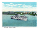 Cincinnati, Ohio - Ohio River Steamer Near City Prints by  Lantern Press