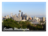 Seattle, Washington - Skyline and Rainier with Trees Prints by  Lantern Press