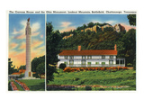 Chattanooga, Tennessee - Exterior View of the Cravens House and the Ohio Monument Posters by  Lantern Press