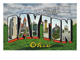 Dayton, Ohio - Large Letter Scenes, Wright Bros. Plane Print by Lantern Press