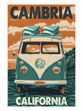 Cambria, California - VW Van Prints by  Lantern Press