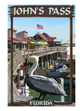 John's Pass, Florida - Pelican and Dock Prints by  Lantern Press