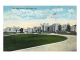 San Diego, California - Panoramic View of the High School Posters by Lantern Press