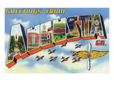 Augusta, Georgia - Large Letter Scenes, Airplanes Print by  Lantern Press