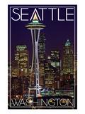 Seattle, Washington - Space Needle Christmas at Night Affiche par  Lantern Press