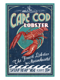Cape Cod, Massachusetts - Lobster Plakater af  Lantern Press