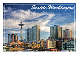 Seattle, Washington - Skyline and Space Needle Posters by  Lantern Press