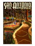 The Riverwalk - San Antonio, Texas Prints by  Lantern Press