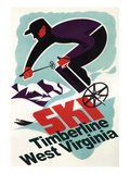 Timberline, West Virginia - Vintage Skier Prints by  Lantern Press