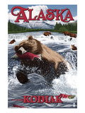 Kodiak, Alaska - Grizzly Bear Fishing Art by  Lantern Press