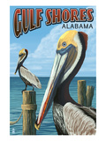 Gulf Shores, Alabama - Brown Pelican Prints by  Lantern Press