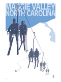 Maggie Valley, North Carolina - Ski Lift Scene Poster by Lantern Press