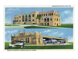 Wichita, Kansas - Administration Building and Planes Art by  Lantern Press