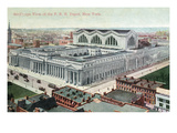 New York City, New York - Aerial View of Pennsylvania Railroad Depot Print by  Lantern Press