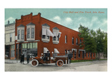 Iola, Kansas - City Hall Exterior with Fire Engine View Prints by  Lantern Press