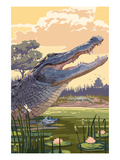 Alligator and Baby Prints by Lantern Press