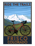 Frisco, Colorado - Mountain Bike and Mountains Print by  Lantern Press