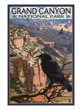 Grand Canyon National Park - Ravens at South Rim Kunstdrucke von  Lantern Press