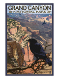 Grand Canyon National Park - Ravens at South Rim Poster by Lantern Press