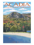 Acadia National Park, Maine - Sand Beach Scene Giclée-Premiumdruck von  Lantern Press