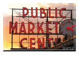 Seattle, Washington - Pike Place Market Sunset Posters by  Lantern Press