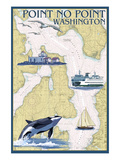 Point No Point Nautical Chart - Washington Art by Lantern Press