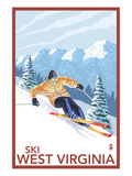 West Virginia - Downhill Skier Scene Prints by  Lantern Press