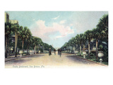 Sea Breeze, Florida - Cycling on Ocean Boulevard Poster by  Lantern Press