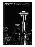Seattle, Washington - Space Needle and Skyline at Night Poster von  Lantern Press