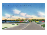 Daytona Beach, Florida - Eastern View from Seabreeze Causeway Print by Lantern Press