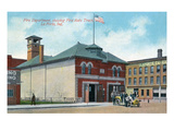 La Porte, Indiana - Exterior View of Fire Dept and Fire Truck Prints by  Lantern Press