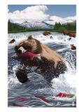Grizzly Bear Fishing Prints by  Lantern Press