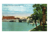 Tampa, Florida - Plant Park View of Bostains Hotel, Lafayette St Bridge Prints by  Lantern Press