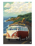 VW Van on Coast Prints by  Lantern Press