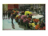 San Francisco, California - View of Street Flower Vendors Poster by  Lantern Press