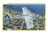 San Diego, California - PB2-Y-2 Navy Plane over the City Posters by Lantern Press
