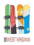 West Virginia - Snowboards in Snow Print by Lantern Press
