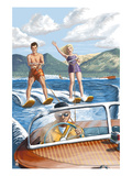 Water Skiing and Wooden Boat Poster by  Lantern Press