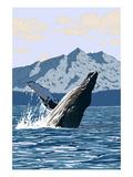 Humpback Whale - Mountains Poster autor Lantern Press