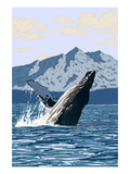 Humpback Whale - Mountains Print by Lantern Press