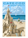 Cape Cod, Massachusetts - Sand Castle Prints by  Lantern Press
