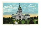Springfield, Illinois - Capitol Building and Lincoln Statue Prints by  Lantern Press